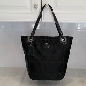 Coach Alex Quilted Black Satin Large Tote
